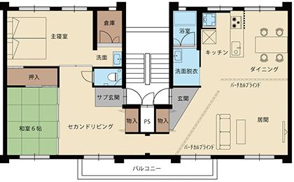 「バーチカルブラインドのある家」間取図
